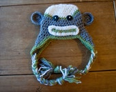 SALE Newborn Sock Monkey Hat with Earflaps and Ties