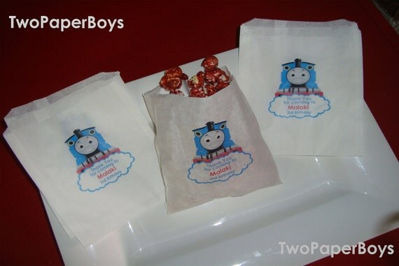 50 Personalized Thomas the Tank Engine  Wax Paper Bags to use for food candy buffet, Birhday or any event with choice of color and character