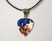 BLINK 182 Sexy Necklace/Car Charm Guitar Pick with Silver Connector Charm
