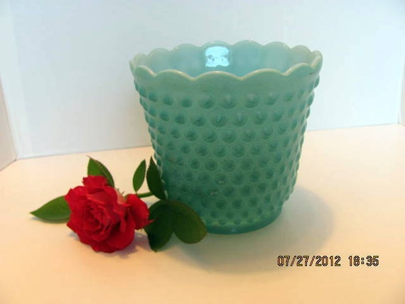 Fire King Hobnail Turquoise Planter or Dish From the Mid Century