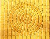 "Ceramic Mosaic Sun Tile -- 6"" x 6"" Psuedomosaic Tile -- Shaded Amber Glaze, IN STOCK"