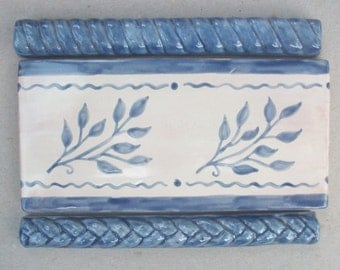 Ceramic Basketweave Border Tile Handmade Ceramic Tile