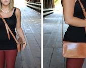 Vintage Brown Leather Cross Body Bag