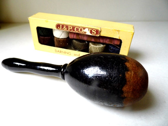 RESERVED Antique Wooden Sock Darner Sewing Tool Victorian Era Mending Egg from All Vintage Sewing