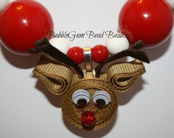 Rudolph the Red-Nosed Reindeer bubblegum bead chunky necklace  READY TO SHIP