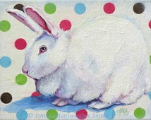 ACEO White Rabbit Art Card -From Rabbit Painting-Collectable Bunny Rabbit Mini-Art Print by Jemmas Gems