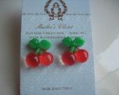 Red Glitter Cherries -  Earrings - post style earrings