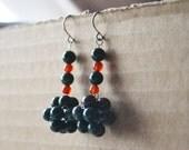 Earrings Carnelian Indian Bloodstone Bead Green Red Orange Stone Cluster Weave Hypoallergenic