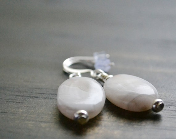 Spring Jewelry Sale Earrings Crazy Lace Agate Natural Puffy Oval Hypoallergenic White Grey Brown Jewelry Sale