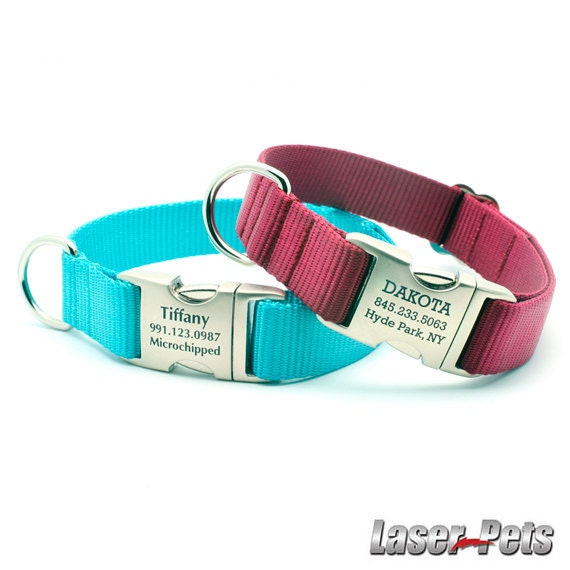 HEAVY DUTY Webbing Dog Collar with Personalized Buckle