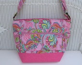 Handmade Pink Baby Girl Diaper Bag / Toddler Diaper Bag / Cross Body Bag / Messenger Bag /  Large Tote