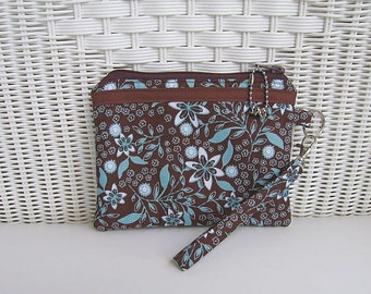 Wristlet / Padded Pouch / Handmade Wristlet / Brown & Turquoise