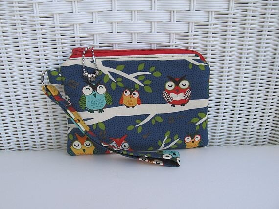 READY-TO-SHIP Handmade Owl Wristlet / Owl Padded Purse / Owl Clutch