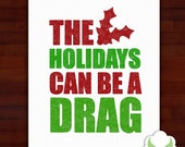 Holiday greeting cards - The holidays can be a drag - LGBT, drag queen, humor, holiday