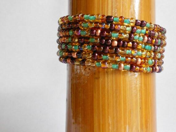 Bohemian gypsy, Statement Bracelet, Autumn Gypsy, Bead Cuff, Bangle Bracelet, Purple iris Green, Copper Amber Bronze, Easy Bracelet (MB198)