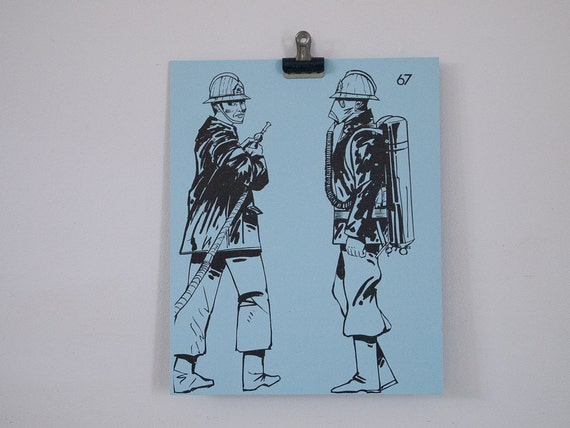 vintage firemen french flash card