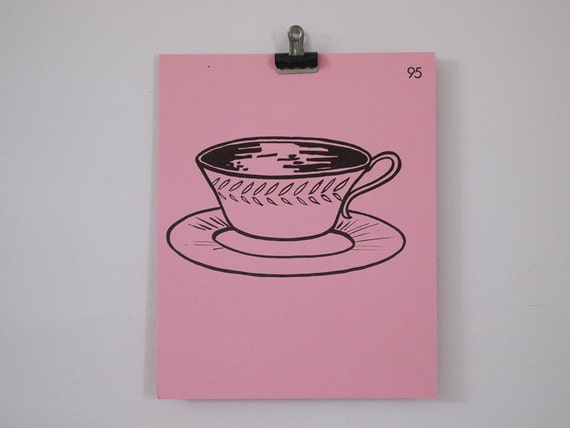 vintage french tea cup and saucer flash card