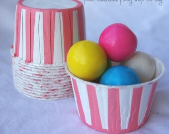 PiNK STRiPe  NuT/CANDy/PoRTiON CuPS-Gumballs, Snacks, Nuts, Cupcakes-Birthday Parties-Showers-25ct