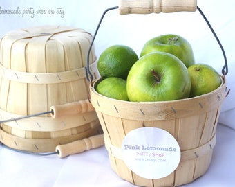 MiNi APPLe BaSKeTS-set of 2-ADorable birch wood baskets with handles--party favors-weddings-centerpieces--add labels or twine