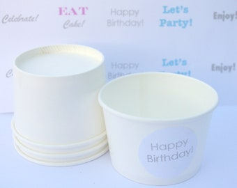 20LiTTLe WHiTe PaPeR ICe CReaM CUPS with FREE printable file-4oz-Party Favors-Ice Cream-Showers-Weddings-20ct
