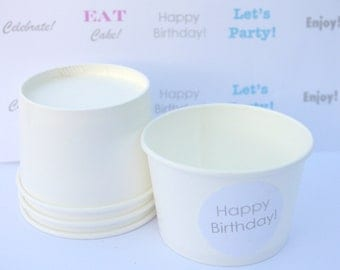 25LiTTLe WHiTe PaPeR ICe CReaM CUPS and LiDSwith ice diy printables-4oz-Party Favors-Ice Cream-Showers-Weddings-25ct