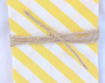 20Tiny DiaGoNaL STRiPe BaGs yellow STriPe--mini size--snacks--candy buffets--party favors--gifts---weddings--showers--20ct-