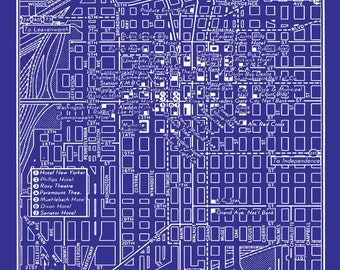 1949 Vintage Map of Downtown Kansas City Blueprint Map Print Poster