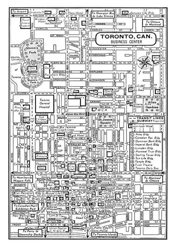 1949 Vintage Map of Downtown Toronto Canada Print Poster