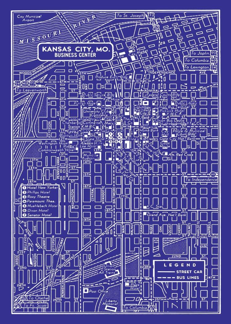 1949 Vintage Map Of Downtown Kansas City Blueprint Map Print