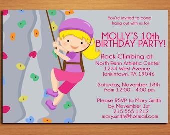 Rock Climbing Girl Birthday Party Invitation Cards PRINTABLE DIY
