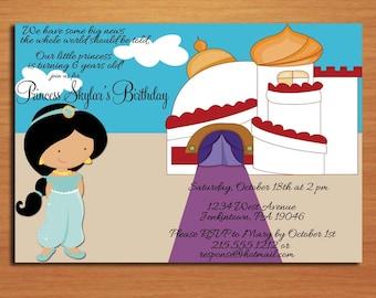 Princess Jasmine / Aladdin Birthday Party Invitation Cards PRINTABLE DIY