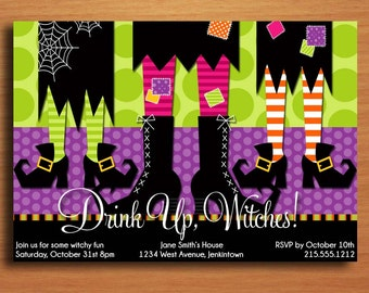 Drink Up, Witches Halloween Party Customized Printable Invitations /  DIY