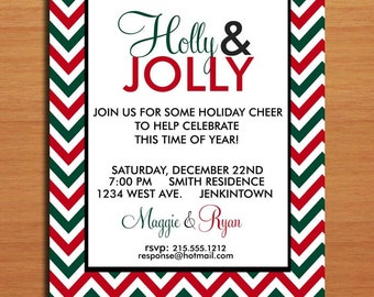 Holly and Jolly / Customized Printable Christmas Party Invitations /  DIY