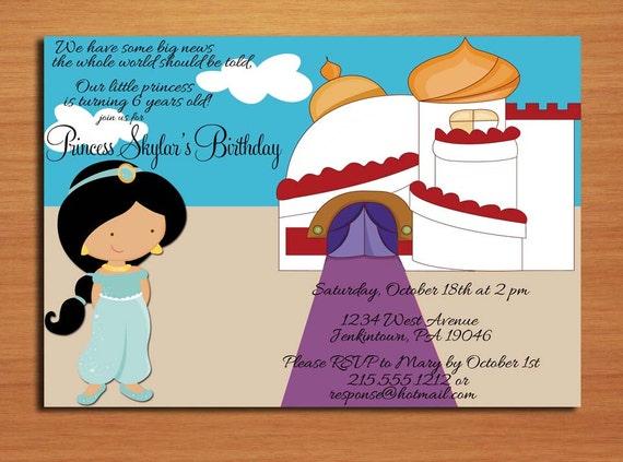 Princess Jasmine Aladdin Birthday Party Invitation Cards