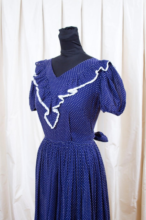 1940's Country Fair Blue with White Swiss Dot Puff Sleeve Dress