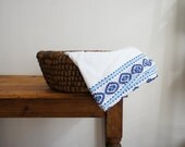 RESERVED  vintage french folk table runner made of linen in blue and white embroidered design