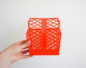 vintage 70's french organizer made of plastic in bright orange