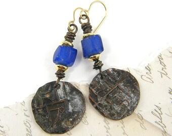 Cobalt Blue Earrings, Tribal Coin Earrings, Blue Brown Rustic Ethnic Dangle Oxidized Earrings Mixed Metal Boho Gypsy Chic Jewelry