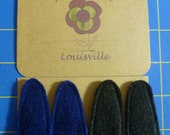Black and Blue Felt Barrettes - Custom Listing for Louise
