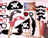 XL 27 Piece Pirate Party Props  Pirate Theme Photo Booth  Pirate Props