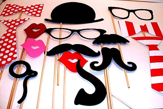 Birthday Photo booth Props - Photo Props - Wedding Photo props - Set of 15 - Pink Hipster  Set