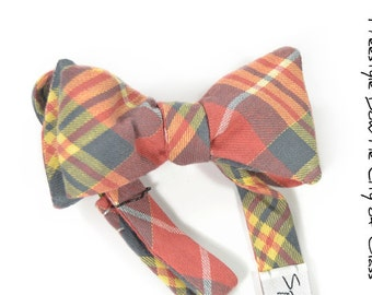 self-tie Wedding Mens Bow Tie City Of Glass -  Plaid red, yellow green plaid bowtie