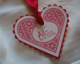 Red Valentine Scalloped Heart Shaped Tags - Set of Six