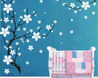 Cherry blossom Wall Decals Wall Stickers wall decor room decor girl kids decal flower decal Baby nursery decal room decor