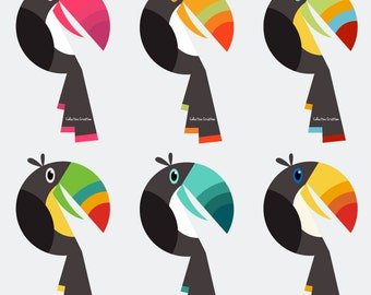 Toucan Digital Clipart - Personal and Commercial Use - Clip Art for Cards, Scrapbooking and Paper Crafts