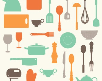 Items similar to Vintage Kitchen Cooking Utensil Clip Art ...