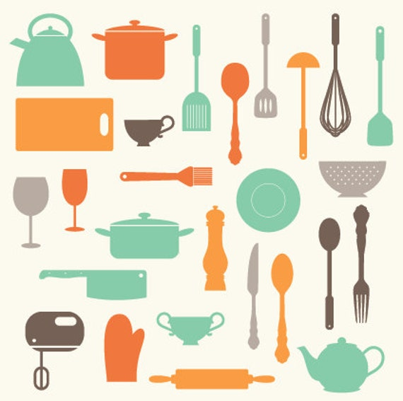 Kitchen Baking Utensils Clip Art Clipart Set - Personal and Commercial ...