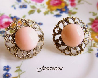 Pink Earrings Peach Wedding Jewelry Apricot Bridesmaid Gift Soft Blush Coral Pink Stud Earrings Victorian Chintzy Bridal Jewellery