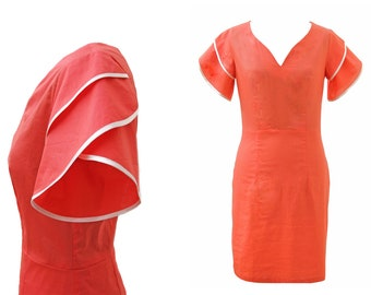 SALE  -Cotton Coral Dress, Designers Dress, Peach Dress, Summer Dress, Dress with Sleeves, Orange Dress