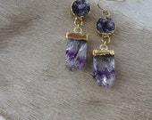 Gorgeous Semi-Precious One-of-Kind Amethyst Geode Gemstone Gold Chandelier Earrings - Handcrafted